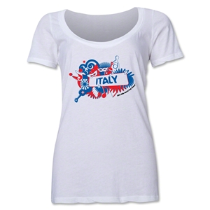 Italy 2014 FIFA World Cup Brazil(TM) Women's Celebration Scoopneck T-Shirt (White)
