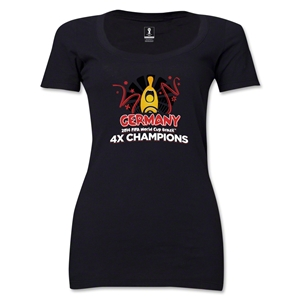 Germany 2014 FIFA World Cup Brazil(TM) Women's Champions Official Look Trophy Scoopneck T-Shirt (Black)