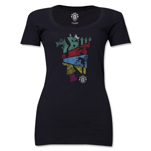 Manchester United Distressed Multi Color Devil Women's Scoopneck T-Shirt (Black)