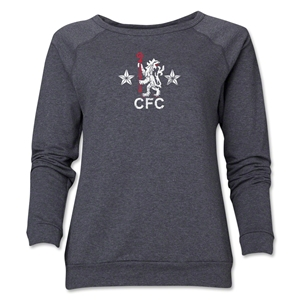 Chelsea Distressed Retro Women's Crewneck Fleece (Dark Gray)