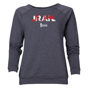 Iran 2014 FIFA World Cup Brazil(TM) Women's Palm Crewneck Sweatshirt (Dark Grey)