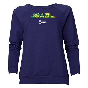 Brazil 2014 FIFA World Cup Brazil(TM) Women's Palm Crewneck Sweatshirt (Navy)