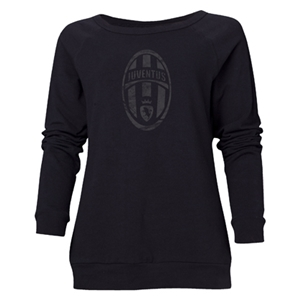Juventus Distressed Logo Women's Crewneck Fleece (Black)