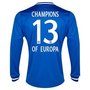 Chelsea 13/14 Champions of Europa LS Home Soccer Jersey