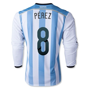 Argentina 2014 PEREZ LS Home Soccer Jersey