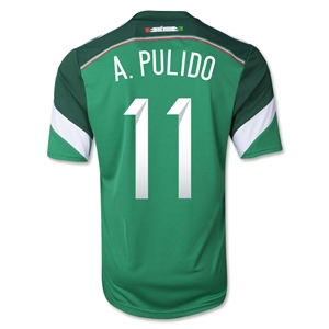 Mexico 2014 A. PULIDO 11 Home Soccer Jersey
