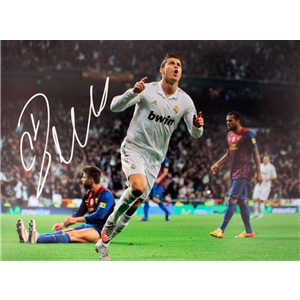 Icons Cristiano Ronaldo Signed Real Madrid Photo Goal Celebration Against Barcelona