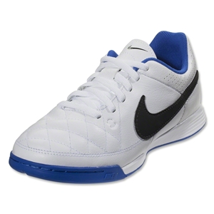 Nike Junior Tiempo Genio Leather IC (White/Treasure Blue)