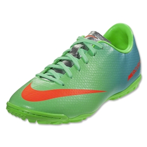 Nike Mercurial Victory IV TF KIDS Shoes (Neo Lime/Metallic Silver/Polarized Blue/Total Crimson)