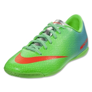 Nike Mercurial Victory IV IC KIDS Shoes (Neo Lime/Metallic Silver/Polarized Blue/Total Crimson)
