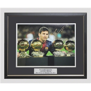 ICONS Leo Messi Signed Photo Fourth Ballon D'Or (Framed)