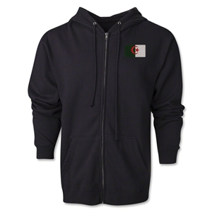 Algeria Flag Full Zip Hooded Fleece (Black)