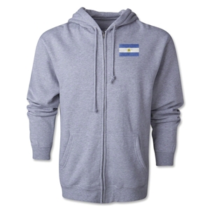 Argentina Flag Full Zip Hooded Fleece (Grey)
