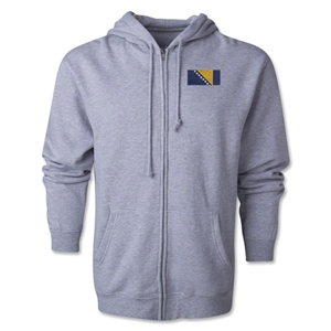 Bosnia-Herzegovina Flag Full Zip Hooded Fleece (Grey)