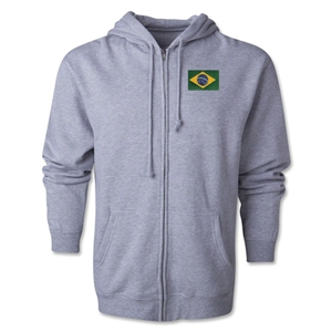 Brazil Flag Full Zip Hooded Fleece (Grey)