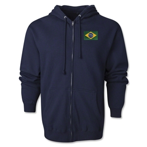Brazil Flag Full Zip Hooded Fleece (Navy)
