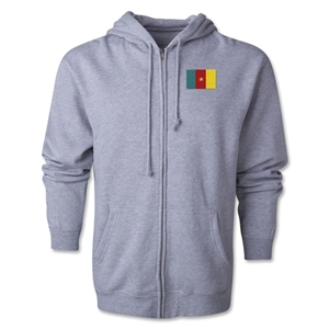 Cameroon Flag Full Zip Hooded Fleece (Grey)