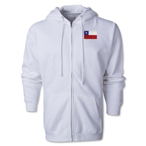 Chile Flag Full Zip Hooded Fleece (White)