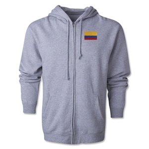 Colombia Flag Full Zip Hooded Fleece (Grey)