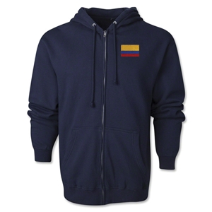 Colombia Flag Full Zip Hooded Fleece (Navy)