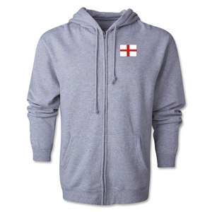 England Flag Full Zip Hooded Fleece (Grey)