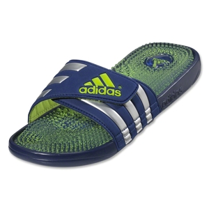 adidas adissage Fade Soccer Sandal (Right Blue/Metallic Silver/Solar Slime)