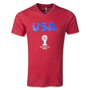 USA 2014 FIFA World Cup Men's Core V-Neck T-Shirt (Red)