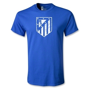 Atletico Madrid Distressed Crest T-Shirt (Royal)