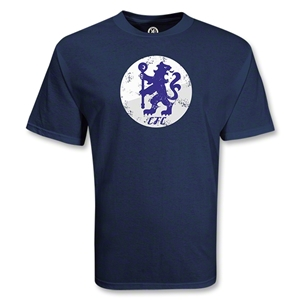 Chelsea Football Club Circle Lion Distressed Soccer T-Shirt (Navy)