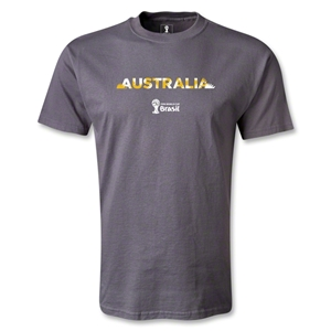 Australia 2014 FIFA World Cup Brazil(TM) Men's Palm T-Shirt (Dark Gray)