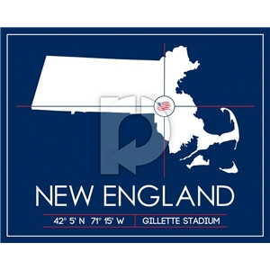 New England Revolution Map Wall Art