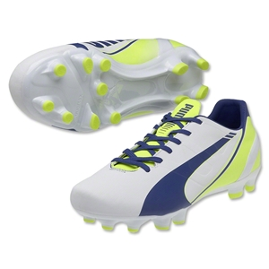 Puma evoSpeed 4.3 FG Women's (White/Snorkel Blue/Fluro Yellow)