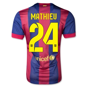 Barcelona 14/15 MATHIEU Authentic Home Soccer Jersey