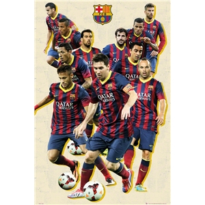 Barcelona Vintage Players Poster