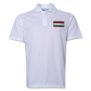 Hungary Flag Soccer Polo (White)