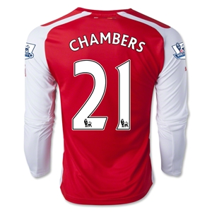 Arsenal 14/15 CHAMBERS LS Home Soccer Jersey