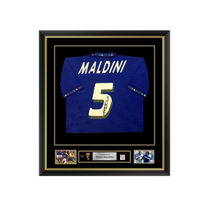 Paolo Maldini Signed and Framed Italy Jersey