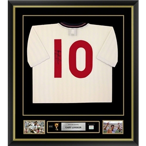 Gary Lineker Signed and Framed England Jersey