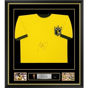 Socrates Signed and Framed Brazil Jersey