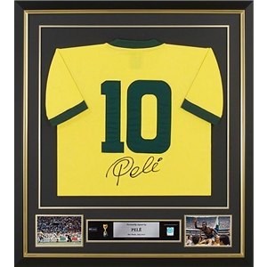 Pele Signed and Framed Brazil Jersey