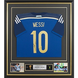 Leo Messi Signed and Framed Argentina Away Jersey