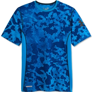 Under Armour HeatGear Sonic Fitted Printed T-Shirt (Blue)