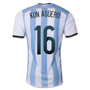 Argentina 2014 KUN AGUERO Authentic Home Soccer Jersey