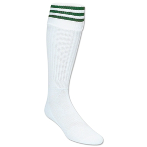 3 Stripe Padded Socks (White/Dark Green)