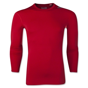 adidas Base TechFit Compression Long Sleeve T-Shirt (Red)