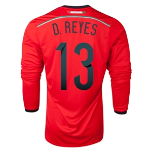 Mexico 2014 D REYES LS Away Soccer Jersey