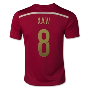 Spain 2014 XAVI Youth Home Soccer Jersey