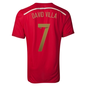 Spain 2014 DAVID VILLA Authentic Home Soccer Jersey
