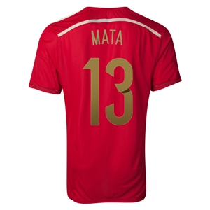 Spain 2014 MATA Authentic Home Soccer Jersey