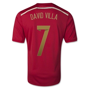 Spain 2014 DAVID VILLA Home Soccer Jersey